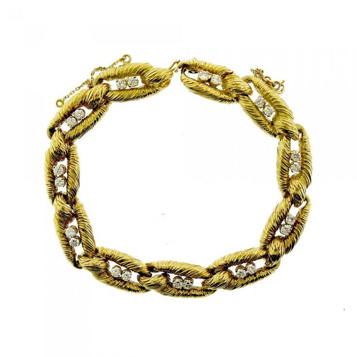 Cartier & Co. (Signed) 18k Gold and Diamond Link Bracelet, c. 1970