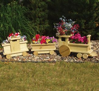 Planter Plans | Planter Woodworking Plans - Train Planter Wood Project Plan