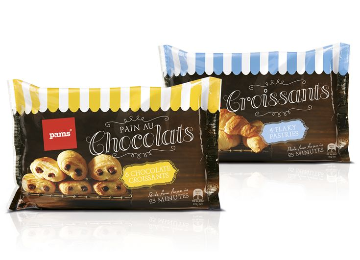 Frozen pastries packaging design for Pams private brand