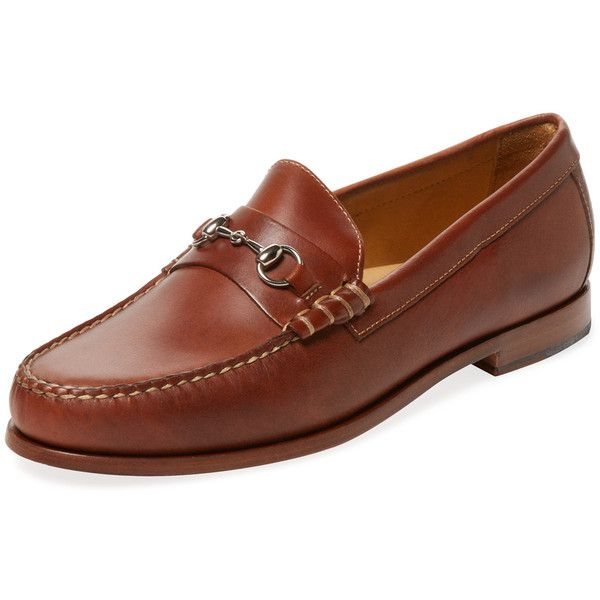 Warfield & Grand Men's Leather Bit Loafer - Cream/Tan - Size 10 ($115) ❤ liked on Polyvore featuring men's fashion, men's shoes, men's loafers, mens loafer shoes, mens leather loafers, mens cream dress shoes, mens tan loafers and mens shoes
