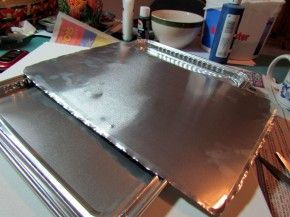 faux punched tin craft from aluminum cookie sheet 2