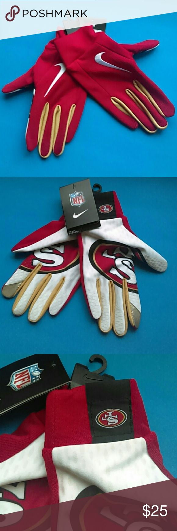 BRAND NEW NIKE  NFL  GLOVES 100% AUTHENTIC NFL GLOVES UNISEX. SIZE  :M ORIGINAL PRICE $  35 REASONABLE OFFER IS WELCOMED NIKE Accessories
