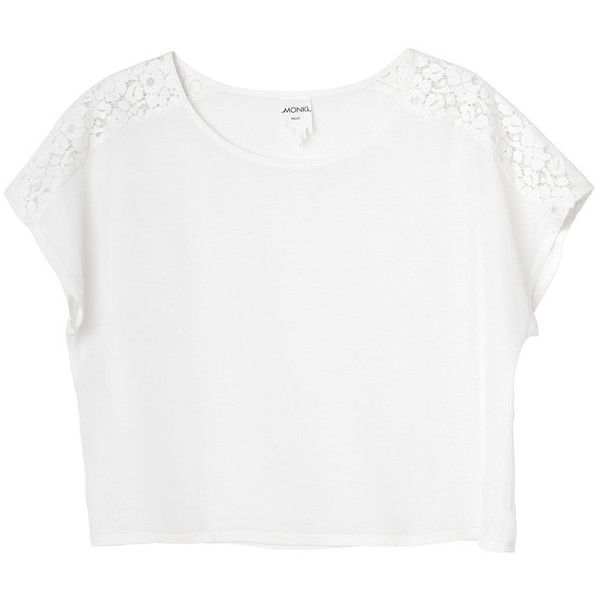 Monki Corinne blouse ($6.55) ❤ liked on Polyvore featuring tops, shirts, t-shirts, tees, lace, wondrous white, lace shirt, lacy shirts, summer lace tops and cut off shirts