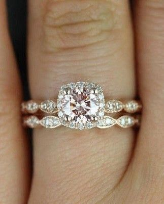 Rose Gold Pink Diamond Cushion Halo Engagement Ring Engagementrings