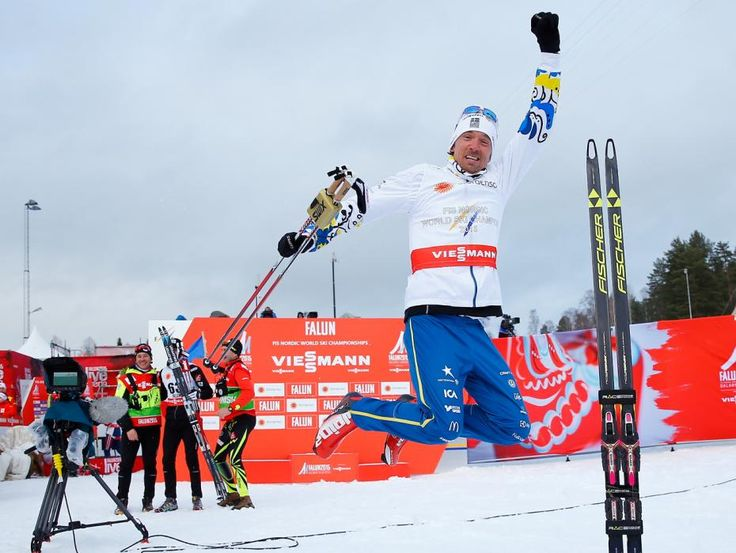 Sweden's Johan Olsson celebrates winning the men's 15 km free individual race at the Nordic World Ski Championships in Falun February 25, 2015. Sweden's Johan Olsson won the race ahead of Maurice Manificat of France on second place and Norway's Anders Gloeersen on third place. (REUTERS/Kai Pfaffenbach)