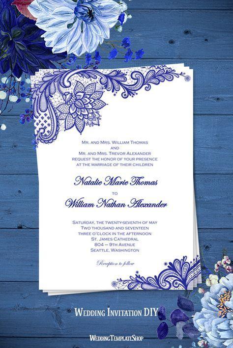 Vintage Lace Wedding Invitation Royal Blue invitations Lace