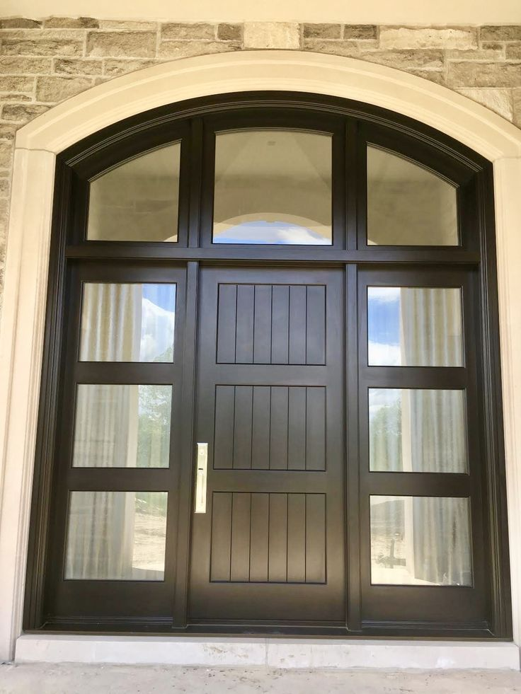 Superb & masterfully built #handmade #custommade #mahogany #AmberwoodDoor - Chinchilla and dual clear glass; Brown Mahogany stain; solid #Emtek Melrose lockset in Satin Nickel. Call or come into Amberwood's outstanding #showroom this #CanadaDay2017 #SaturdayJuly1st and discover your dream #doors 416-213-8007 #AmberwoodDoors proudly ships #worldwide - Call today for shipping details! 1-800-861-3591 #IHaveThisThingWithDoors #DoorsOfToronto #DoorsOfDistinction #DoorsOfTheWorld #CurbAppeal