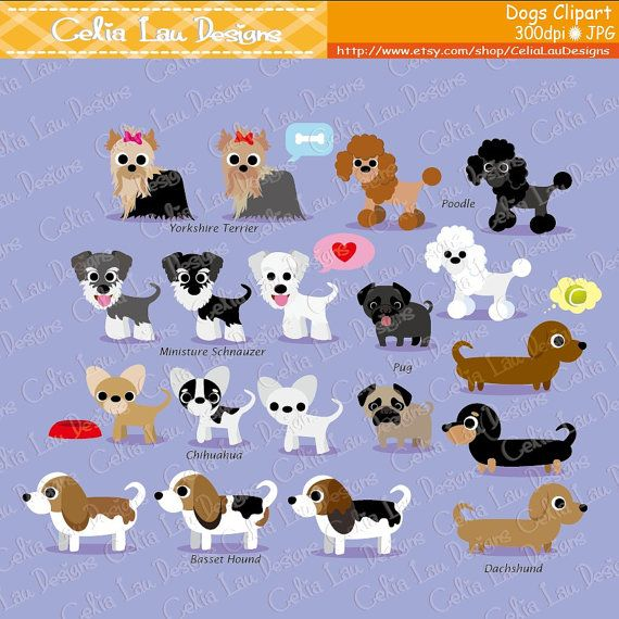 Dog Clipart Puppy Clipart cute dogs clip art by CeliaLauDesigns