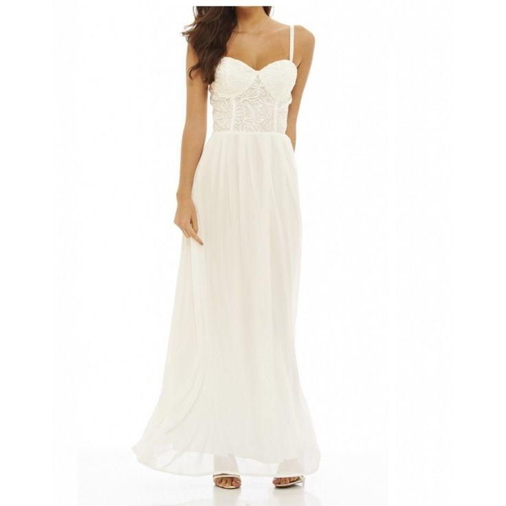 Biała sukienka ślubna z szyfonu gorsetowa na ramiączkach koronkowa