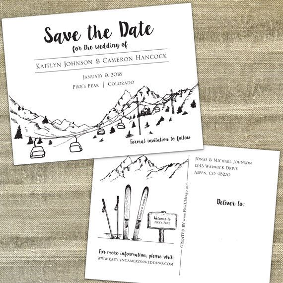 Ski Lift Postcard Save the Dates, completely customizable with your wording and colors, gondola skyline also available, SET OF 55