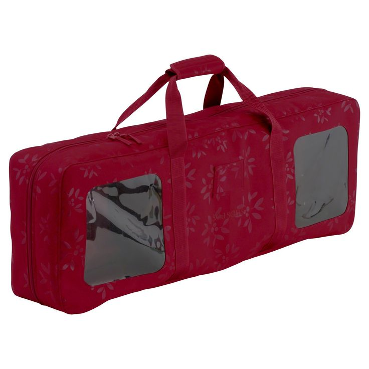 Holiday Wrapping Paper and Supply Organizer Rolling Storage Bin - Red