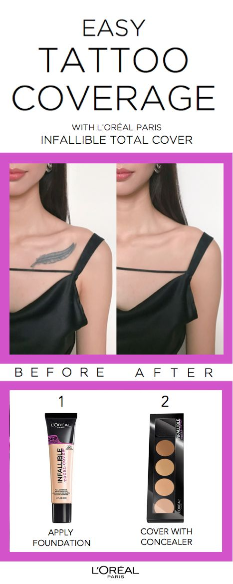 How to cover tattoos using new Infallible Total Cover foundation + concealer palette. First use foundation, then apply concealer.