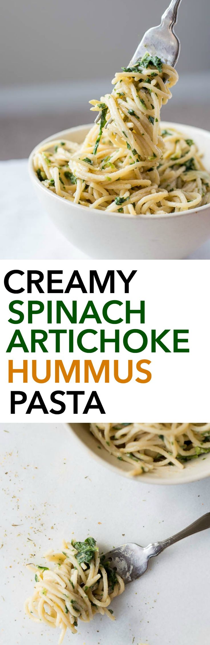 Creamy Spinach Artichoke Hummus Pasta: A healthy, gluten free, and vegan 10 minute meal! You'll love this healthier play on the classic spinach artichoke dip!    fooduzzi.com recipe