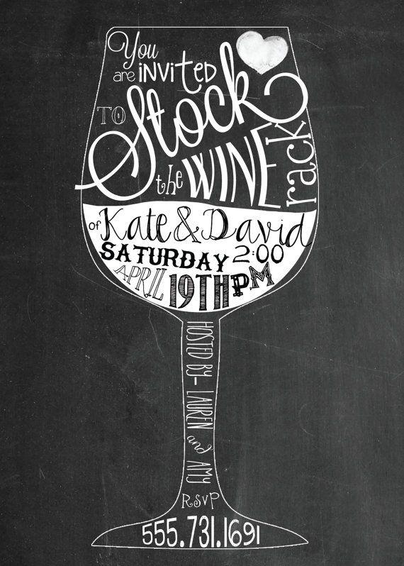 Stock the Bar, Stock the Wine Rack  chalkboard wedding shower printable invitation, digital file