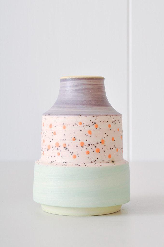 Bud Vase - Orange Dot by KOROMIKO. Handmade in Minnesota by ceramicist Ben Fiess.