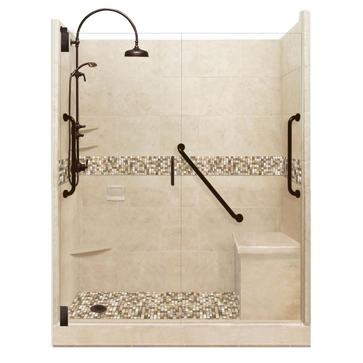American Bath Factory Roma Freedom Luxe Hinged 34 in. x 60 in. x 80 in. Left Drain Alcove Shower Kit in Brown Sugar and Old Bronze Hardware-AFLH-6034BR-LD-OB - The Home Depot