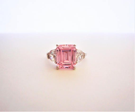 5.21ct Emerald cut Pink lab Diamond Ring. 925 Sterling Silver
