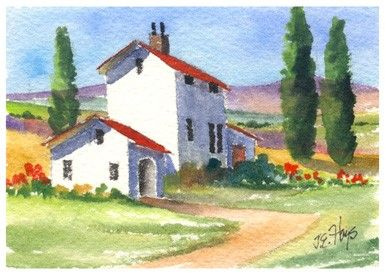 Tuscany Home Landscape Original Watercolor by elaineoriginals
