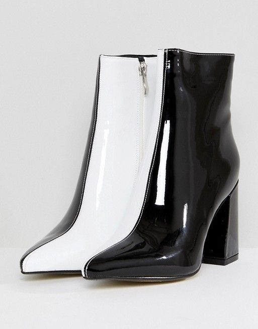 edfae1fe47dd Public Desire Chaos Black and White Contrast Ankle Boots