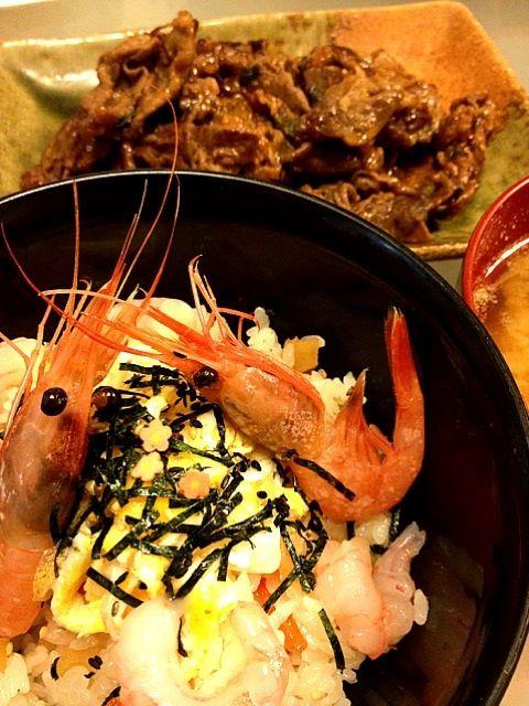 晩ご飯です〜(*^^*) - 8件のもぐもぐ - ちらし寿司  甘エビの殻でダシを取ったお味噌汁 プルコギ by koromama