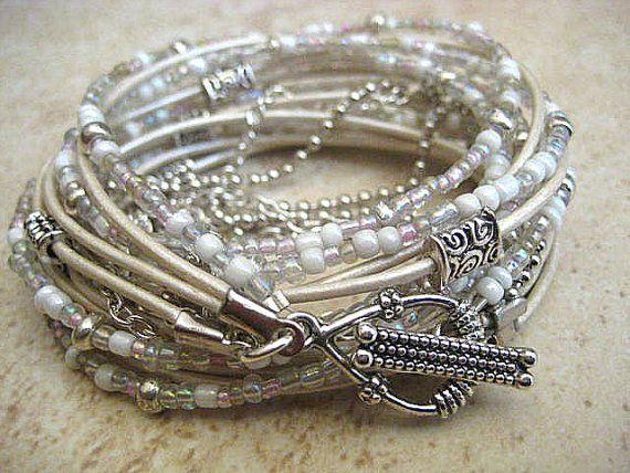 Boho Chic Endless Leather Wrap Beaded Bracelet