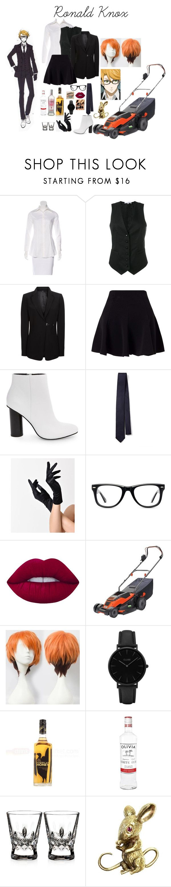 """""""Ronald Knox"""" by sugarontherug ❤ liked on Polyvore featuring Robert Rodriguez, Alexander Terekhov, Miss Selfridge, Steve Madden, Joseph, Muse, Lime Crime, Black & Decker, CLUSE and Waterford"""