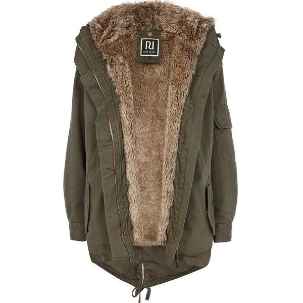 River Island Khaki Faux Fur Lined Hooded Parka ($170) ❤ liked on Polyvore featuring outerwear, coats, jackets, coats & jackets, parka, khaki parka, faux fur lined parka, utility coat, faux fur lined coat and parka coats
