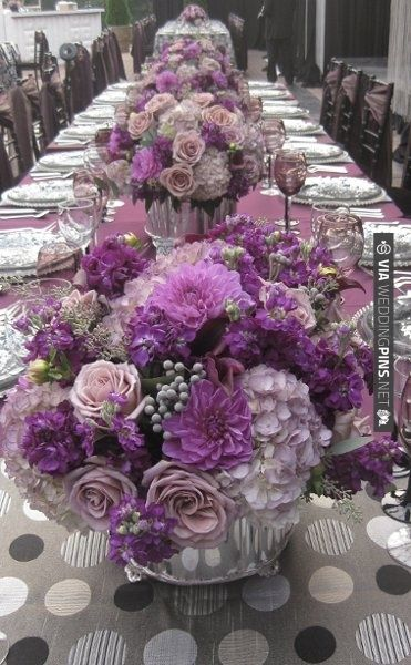 Purples and pinks on grey to cut the sweetness. | VIA #WEDDINGPINS.NET