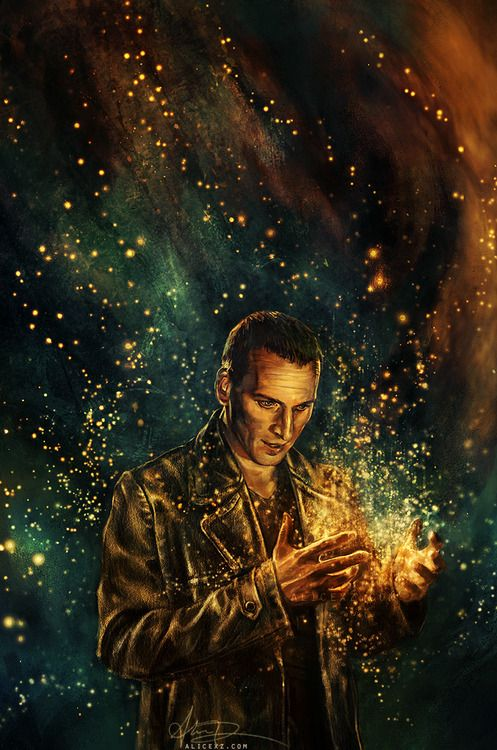 """Another Doctor Who commission from Big Chief Studios and officially approved by the BBC! This is my long-awaited portrait of the Ninth Doctor, titled """"The Parting of the Ways"""" - it's meant to be a dually melancholy/hopeful piece, as it was inspired by both the triumphant scene in The Doctor Dances, as well as the bittersweet regeneration scene in The End of Time. Part of my official series!"""