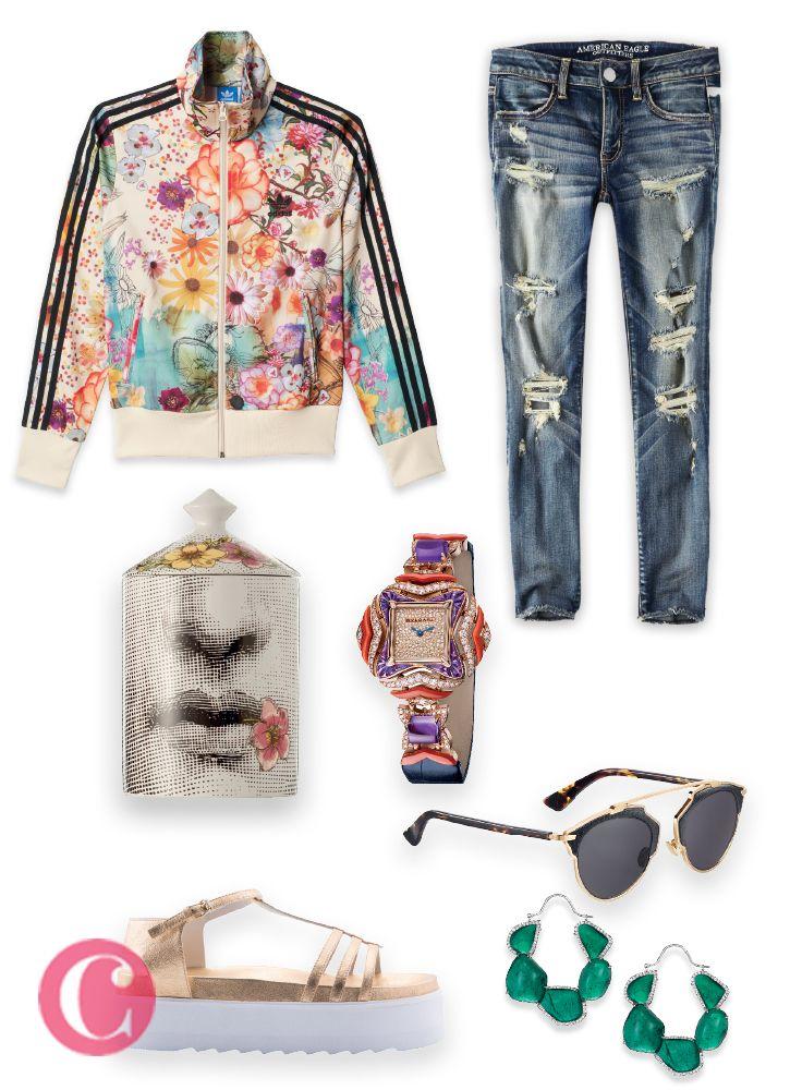 Chamarra, Adidas. Sandalias, BImba y Lola. Lentes, Dior. Reloj, Bvlgari. Aretes, Chopard. Frasco, Fornasetti. Jeans, American Eagle Outfitters.