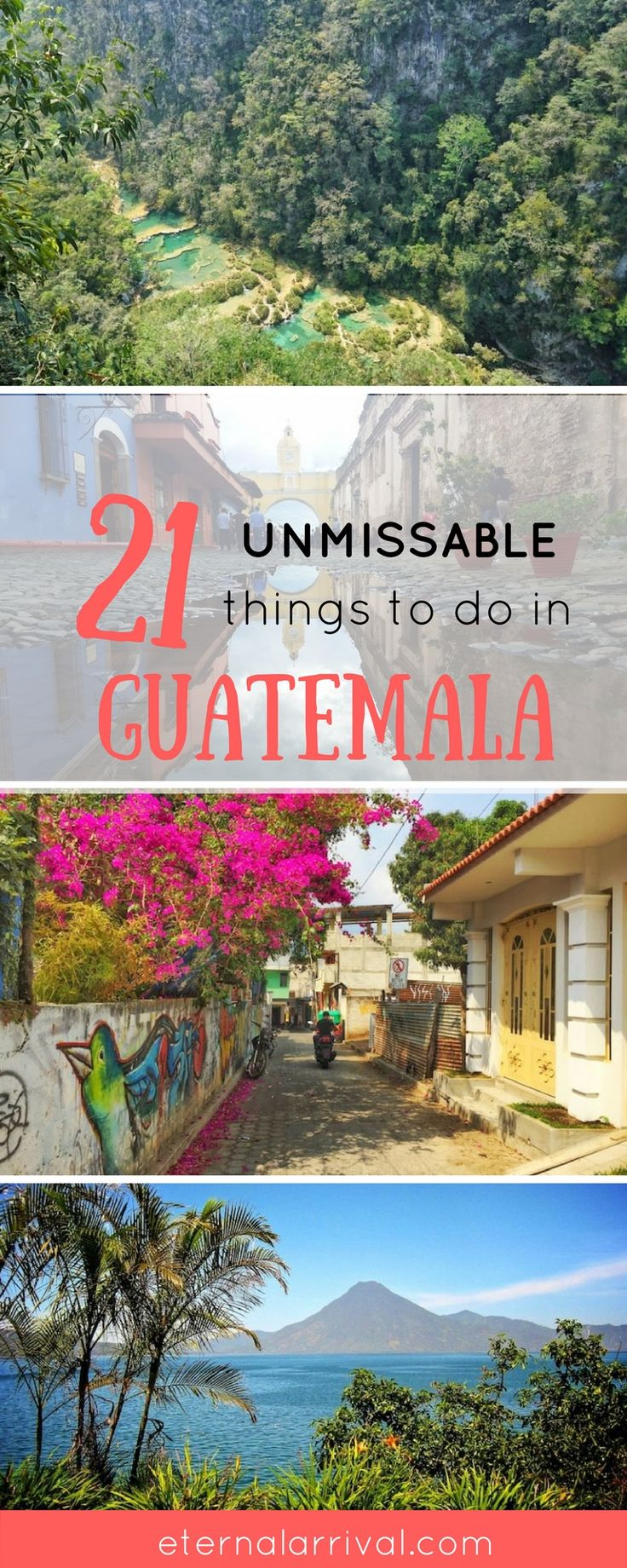 All the best adventures for your Guatemala bucket list: travel to Antigua, see Semuc Champey, see beautiful textiles, appreciate the food & culture... here are 21 ideas for unmissable things to do in Guatemala!