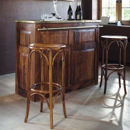 Tabouret de bar en bois de sheesham massif bar for Meuble bar bois massif