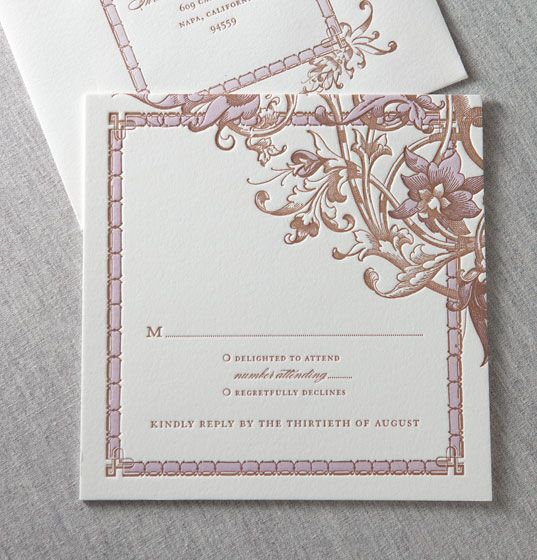Square reply card. / Chalk Hill wine country letterpress wedding invitation by @Dauphine Press in wisteria and copper