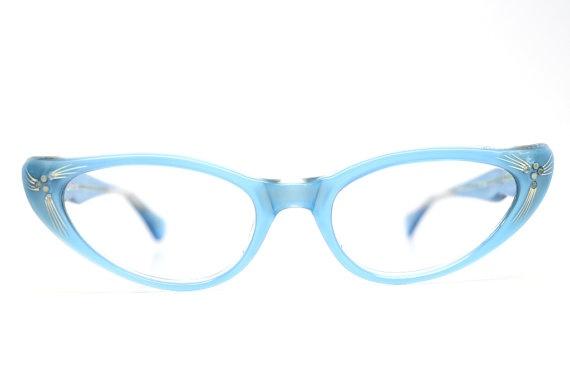 vintage cat eye glasses blue rhinestone cateye frames