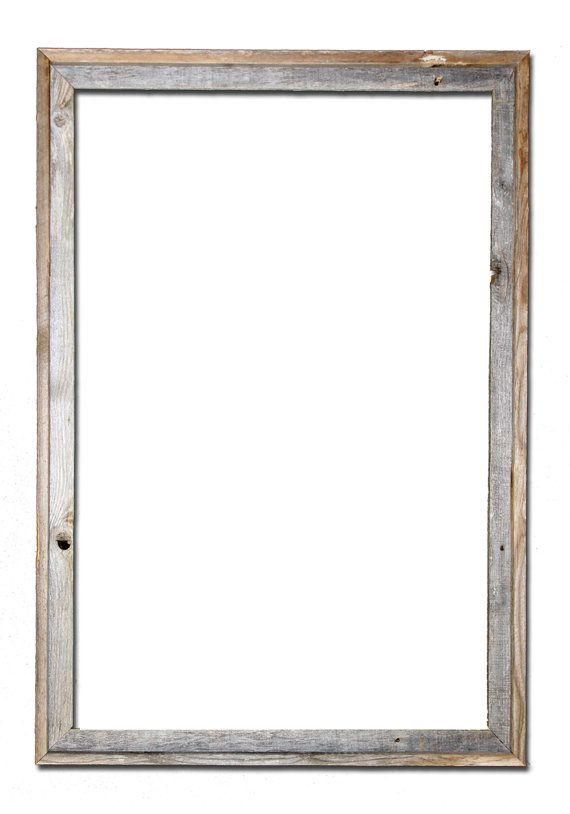 Open style recycled barn wood picture frame, 24x36, in natural color with all the knots, blemishes and color variations of rustic weathered