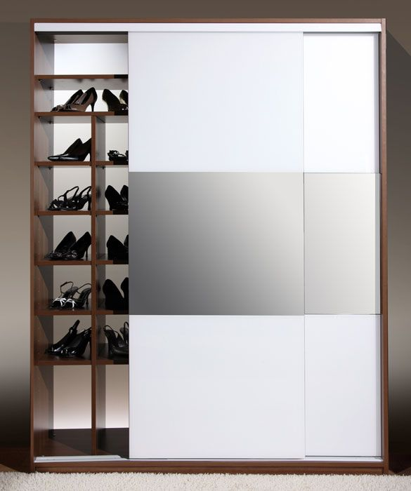 Platos liukuovilla varustettu kenkäkaappi valkoinen / kirkaspeili  # liukuovikaapistot # säilytysjärjestelmät