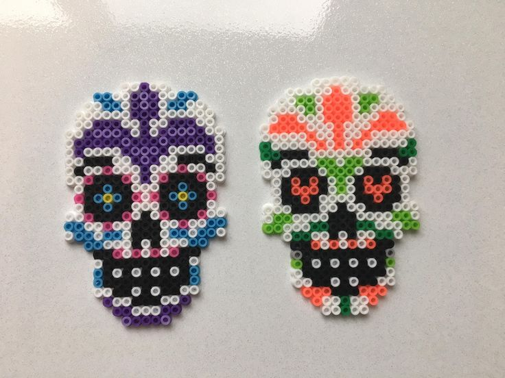 Sugar Skull Mini Perler Bead Magnets by StitchByStitch36 on Etsy