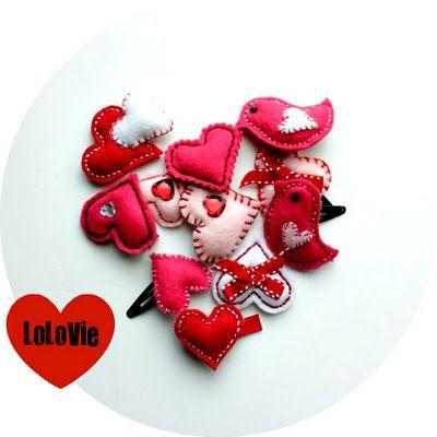 Valentine's Day Felt Barrettes: Crafty Stuff, Valentines Ideas, Crafts Ideas, For Kids, Kids Valentines, Valentines Day, Felt Birds, Felt Hair Clip, Felt Heart