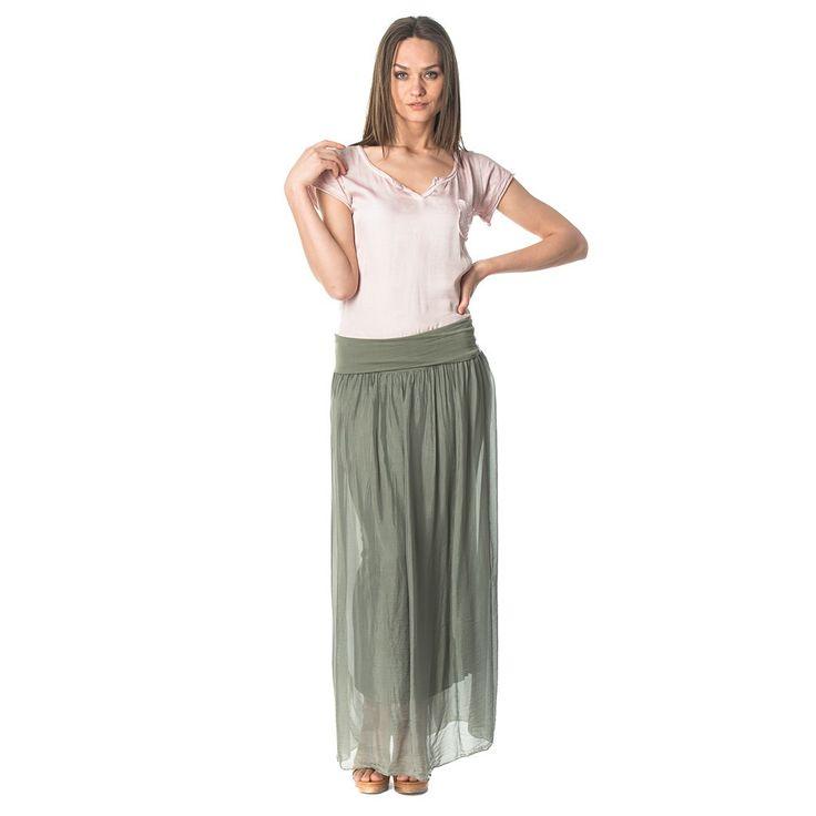 Green long silk skirt