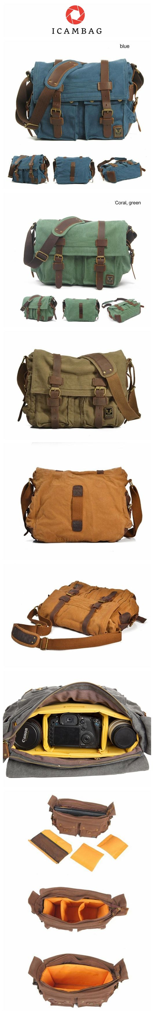 Dark Gray Canvas Leather Camera Bag Leisure Shoulder Bag Messenger Bag DSLR Camera Bag 2138D ********************************************** We use selected thick cotton waxed canvas, quality hardware