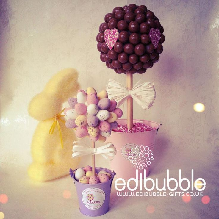Sweet Easter loveliness. Large and small #Sweet Trees. http://www.edibubble-gifts.co.uk/