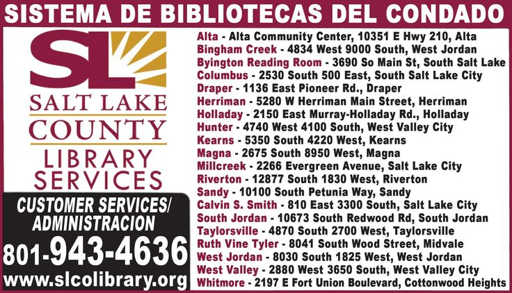 BIBLIOTECAS EN UTAH, Encuentra la sucursal de la Biblioteca del condado de Salt Lake mas cerca a tu hogar