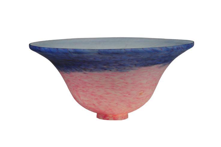 10 Inch W Pink/Blue Pate-de-verre Bell Shade