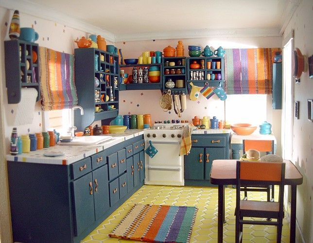 Southwestern kitchen. I want to get a color scheme like this going for my kitchen--a little bit of Texas in my little Virginia townhouse.