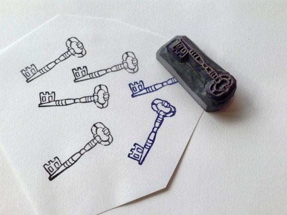 Antique Key Hand carved rubber stamp by HandCarvedStamps on Etsy