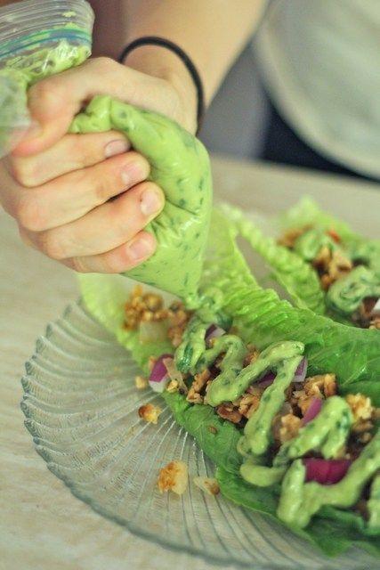 Tempeh Tacos with an Avocado Cilantro Cream