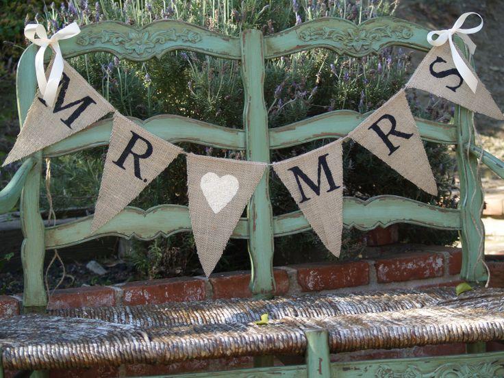 Mr. & Mrs. burlap banner - Wedding Banner - Photography prop - wedding garland sign. $22.00, via Etsy.