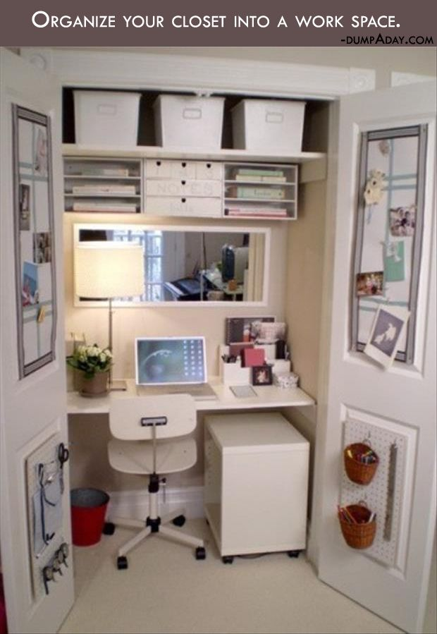 Genius Crafty Ideas- organize your closet into a work space. This is a great idea and means you just shut the doors to hide it away. Great idea for a small house.