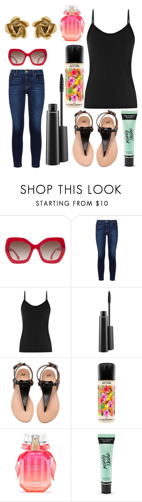 """Untitled #11599"" by ohnadine ❤ liked on Polyvore featuring Alice + Olivia, Hudson, Reiss, MAC Cosmetics, Victoria's Secret and Oscar de la Renta"