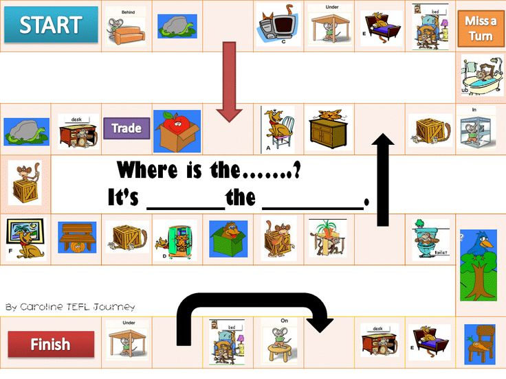 Board game for practicing prepositions of place : for my ...